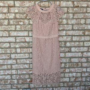 Bebe Blush Pink Bodycon Tight Lace Dress 8
